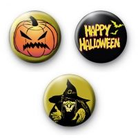 Set of 3 Evil Halloween Badges button badges pins pin badge Abzeichen odznaky значки merkit バッジ distintivi einkennismerki 배지