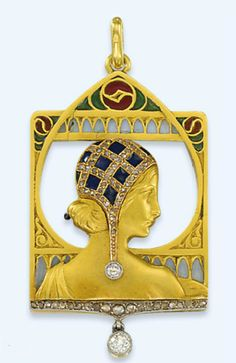 AN ART NOUVEAU DIAMOND-SET ENAMEL PENDANT, BY LUIS MASRIERA  Designed as a sculpted gold female profile facing right with an enamel and diamond-set cap within an openwork plique à jour enamel frame accented by rose-cut diamonds, suspending a circular-cut diamond collet, mounted in gold, circa 1910, 5.8cm long  With maker's mark for Masriera