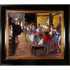 Edgar Degas 'The Dance Class' Hand Painted Framed Art