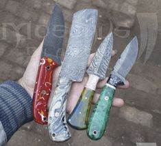 Damascus Fixed Blade Knives. Damascus Knife, Fixed Blade Knife, Kitchen Knives, Hunting, Handmade, Craft, Deer Hunting, Arm Work, Hand Made