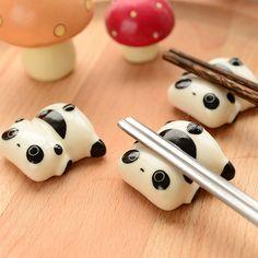 Super Cute Panda Chopsticks Holder Stand Ceramic Chopsticks Forks Holder 2 pcs