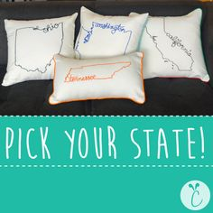 Custom Embroidered State Decorative Throw Pillow Cover, United States Ohio Washington California Tennessee New York Carolina Texas Gift