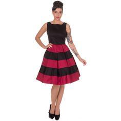 Dolly & Dotty Anna Stripe Retro Rockabilly Swing Dress in Black/Burgundy Retro Mode, Mode Vintage, Robe Swing, Swing Dress, Vintage Style Dresses, Vintage Outfits, Vintage Clothing, Vintage Online Shop, Retro Fashion