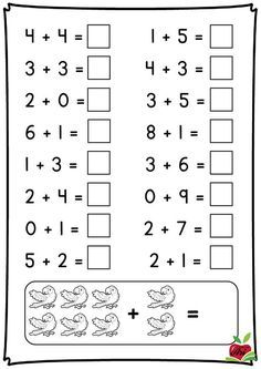 Fall Math and Literacy Worksheet Pack - First Grade Preschool Writing, Numbers Preschool, Preschool Learning, Kindergarten Addition Worksheets, Free Kindergarten Worksheets, Subtraction Worksheets, First Grade Math, Math For Kids, Kumon
