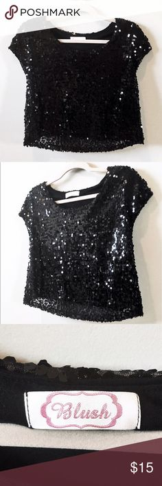 Black Sequin Top This top is so fun for a night out! Please feel free to make an offer and comment any questions below! Bundle for 20% off! Tops