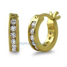 Channel Hoop Gold CZ Bling Bling Earrings Custom Gold Micro Pave Earrings
