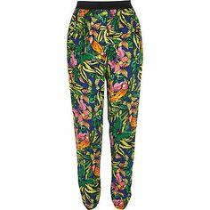 Green tropical print joggers £30.00