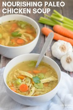 This easy-to-make Paleo Chicken Soup recipe is gluten-free, grain-free, and dairy-free, and is so delicious, even kids gobble it up and ask for more! It's packed with nutrients and healing herbs that (Paleo Recipes Easy) Paleo Chicken Soup, Paleo Soup, Recipe Chicken, Chicken Broth Soup, Bone Broth Soup, Chicken Soups, Chicken Soup For Colds, Ginger Chicken Soup, Chicken Broth Recipes