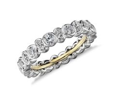 Truly Zac Posen Bezel-Set Diamond Eternity Ring in Platinum and 18k Yellow Gold