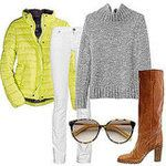 Perfect Puffer Jacket Outfit! Lime Jacket, Chunky Grey Knit, White Jeans, (the perfect) Camel Boot, and hot shades! xo <3