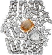 Montre heure apparente Haute Joaillerie décor licorne Petit modèle, or gris rhodié, saphir, diamants