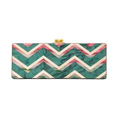 Edie Parker Flavia Chevron Clutch (109,110 INR) ❤ liked on Polyvore featuring bags, handbags, clutches, green clutches, edie parker handbags, kiss clasp purse, hand bags and chevron purse