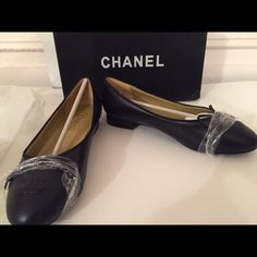 Chanel ballerina Flats Size 40, will fit USA size 8.5-9 depending on how wide your foot is. Don't know about authenticity, they were a gift. But they are leather and look really good. Brand new. Too big for me  CHANEL Shoes Flats & Loafers