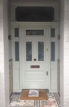 Gorgeous Victorian front door in Farrow & Ball's Pale Powder no. 204 in Exterior Eggshell