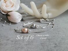 Silver Coral Pink Favor Wedding Jewelry Set of 6 Bridesmaid