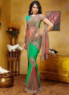 Net And Silk Jacquard Butterfly Pallu Saree... Love the pleats and the pallu!! ooh la la!!