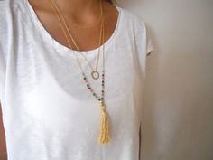 Long Tassel Necklace. Gold Chain and Beads Necklace. Boho Necklace. Layering Tassel Necklace
