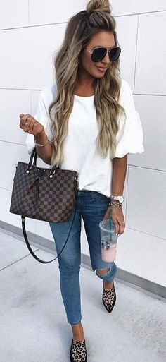 #fall #outfits women's brass framed sunglasses, white scoop-neck blouse, blue denim distressed jeans, and black and beige leopard-print pointy-toe flats