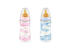 BIBERÃO FIRST CHOICE+ ROSE & BLUE 300 ML LÁTEX #NUK. Disponivel em 2 cores (azul e rosa) Latex, Water Bottle, Rose, Blue Roses, Pink, Roses, Water Bottles, Pink Roses
