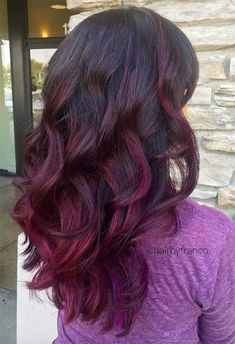 Purple ombre hair is a creative and fun way to get a stunning day-to-day look. Spiking popularity rates, tens of purple hair shades to choose from, and vibrant hair coloring results recommend purple ombre. Purple Ombre, Purple Tips, Brown Ombre Hair, Hair Color Purple, Hair Colors, Black Ombre, Dark Purple, Blue, Plum Hair Dye