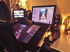 Art Studio Room, Art Studio Design, Game Room Design, Studio Setup, Gaming Room Setup, Computer Setup, Desk Setup, Pc Setup, Home Office Setup