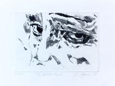 """15 /  OLIVIA PEGORARO, """"Il mondo fuori"""", 2018, puntasecca, 30 x 20 cm."""