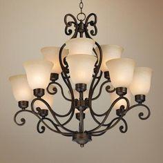 Bronze Over Iron Twelve Light Chandelier - #77320 | LampsPlus.com