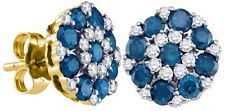 14k Yellow Gold 0.25CT Round Blue & #WhiteDiamondFashion Earrings Earrings Show your originality with these dashing blue and white diamond earrings. Consisting of 50 natural diamonds and set in 14kt yellow gold, these 0.25ctw earrings make a fun, stylish accessory. http://ebay.to/19dysjE
