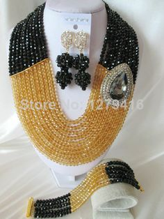 Fashion Nigerian African Wedding Beads Jewelry Set , Crystal Necklace Bracelet Earrings Set C0996 $73.25