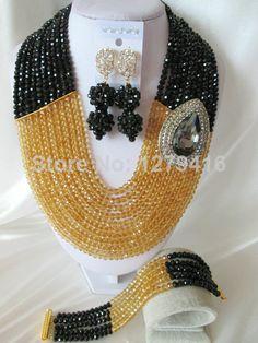 Fashion Nigerian African Wedding Beads Jewelry Set , Crystal Necklace Bracelet Earrings Set C0996 $73.25