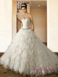 Corsage Pailletten Luxus Brautkleid Blätter Prinzessin Schleppe GWRW145€640.00
