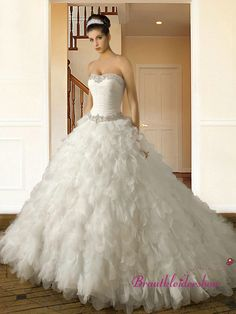 Corsage Pailletten Luxus Brautkleid Blätter Prinzessin Schleppe GWRW145 €640.00