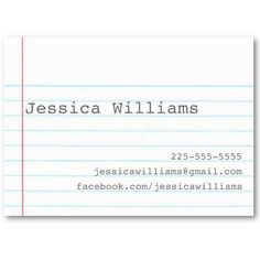 Notebook Paper Business Card