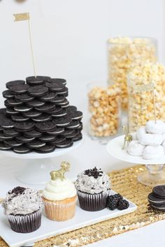 Black, White Gold party!   Oreo stack cake, popcorn in large  glass jars