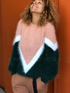 Hand knit sweater angora,multicolored jumper, knitting sweater for woman,green white pink sweater,st Handgestrickte Pullover, Angora Sweater, Pink Sweater, Knitwear Fashion, Knit Fashion, Hand Knitted Sweaters, Wool Sweaters, Oversized Sweaters, Woman Clothing