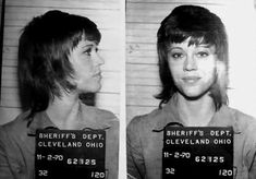 Celebrity Mug Shots: Jane Fonda mug shot in 1970.