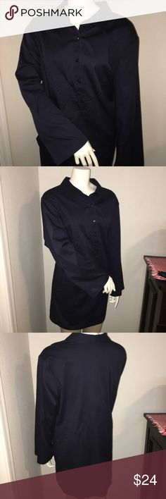 """Linea womens plus size LS career shirt sz: 2X Thank you for viewing my listing, for sale is a women's, plus size, Liena - by Louis Dell' Olio, Navy blue, longsleeve, business/career dress shirt. Shirt is in great condition with no stains has five buttons down the middle of the chest.  This is a long shirt  Sz: 2X  if you have any questions or would like additional photos please feel free to ask  From under one arm to under the other measures appx 28"""" from the top of the shoulder to the…"""