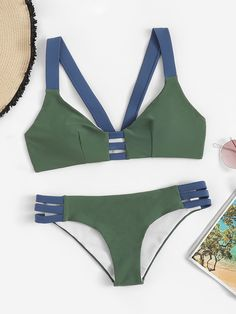 Shop Color-block Top With Ladder Cut-out Bikini online. SHEIN offers Color-block Top With Ladder Cut-out Bikini & more to fit your fashionable needs. Cut Out Bikini, High Leg Bikini, Bikini Set, Cheeky Bikini, One Piece Swimwear, Bikini Swimwear, Bikini 2018, Swimwear Fashion, Spring Break
