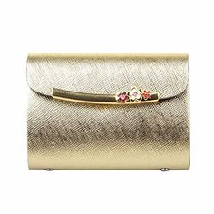 Egmy Fashion Women Leather Card Pack Holder Case Clutch Wallet Purse Short Gold *** Details can be found by clicking on the image.