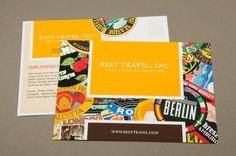 Travel Stamp Postcard Template - This colorful postcard would be perfect for a travel agency. The sticker motif captures the adventuresome spirit of a company selling travel-related products and services.