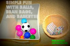 Balls, bean bags, and baskets - simply playing. cant remember the basics! Plus Im thinking with my older girls they could help me make little bean bags as well for their baby sister to play with. activities-for-kids Gross Motor Activities, Movement Activities, Gross Motor Skills, Infant Activities, Activities For Kids, Crafts For Kids, Fitness Activities, Indoor Activities, Toddler Fun