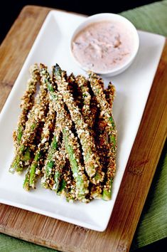 Crunchy Baked Asparagus Fries with Lemon Herb Sriracha Dip. My goodness, yes.