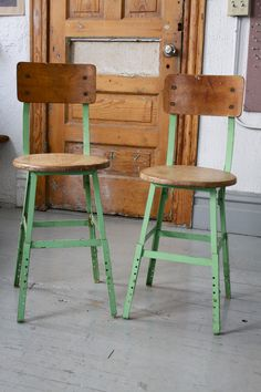 Pair Of Vintage Industrial Mint Green Adjustable Stools With Back