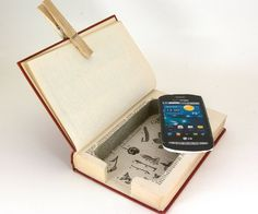 Iphone charging station in a book =)