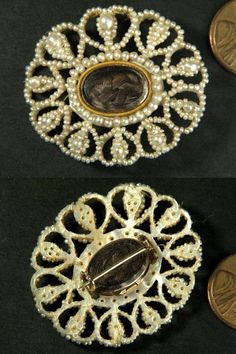 SUPERB-ANTIQUE-GEORGIAN-SEED-PEARL-BOXED-SUITE-NECKLACE-EARRINGS-BROOCH-etc-1820