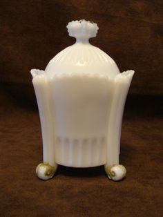 Antique Westmoreland Milk Glass Mustard Jar