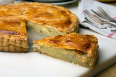 // Savory Potato Tart—Serve a small slice alongside roasted meats, or a larger portion for a vegetarian lunch, accompanied by a green salad If you want to make it a few hours ahead, or even a day before, it reheats beautifully.