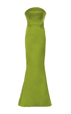 Leaf Green Double Face Duchesse Strapless Gown by Zac Posen for Preorder on Moda Operandi