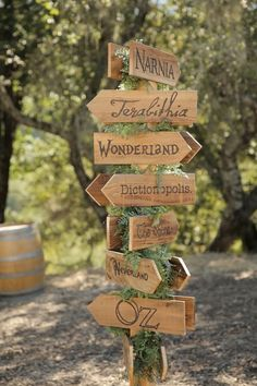 enchanted forest woodland wedding with rustic whimsical wooden signs inspired by fiction books narnia wonderland Oz as table names / numbers