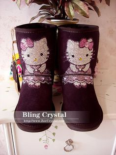 These are cute too!! Czech Crystal Bling Bling Purple Wool Boots by BlingCrystalShop, $179.00